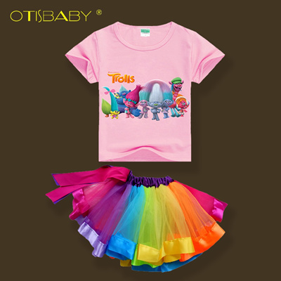 391e999f43ae7 Summer Girls Clothing Set Trolls T-shirts + Rainbow Tutu Skirts Toddler  Girls Poppy Cotton Costumes
