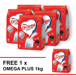 NESTLE OMEGA PLUS Milk Powder Softpack 1kg  Buy 5 Free 1