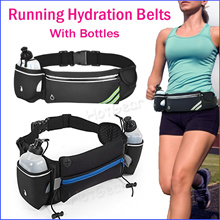 【SG Fast Delivery】Running Waist Pouch ◇ Hydration Belt with Free 10oz Water Bottles for Men / Women