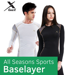 [GearX] Men/Women New Sports Baselayer for All Seasons - UV Block/Compression Wear/Functional Base L