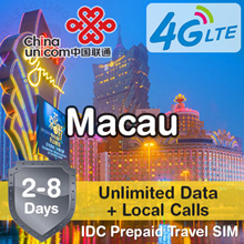 IDC ★ Macau SIM Card 2-8 Days ★ CSL China Unicom HK CTM ★ Unlimited 4G LTE Data Calls Prepaid