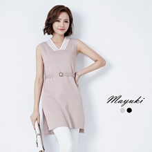 MAYUKI - Sleeveless V-neck Top with Waist Band Detail-6022008-Winter