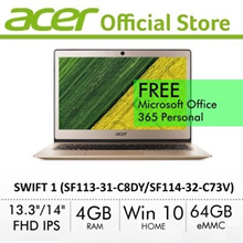 [Limited Stock] Acer Swift 1 (SF113-31-C8DY/SF114-32-C73V) 13.3 Inch FHD IPS Ultrathin Laptop