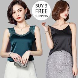 Buy 3 Free Shipping/Silk sling/Vest top/Satin bottoming shirt/Lace sling/Velvet shirt/Sexy/V-neck/