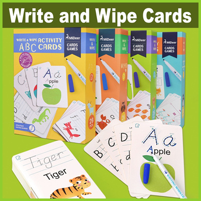 Home Mideer Write And Wipe Off Alphabet Words Math Kids Activity Cards Game Early Learning English Educational Toys For Children Gift