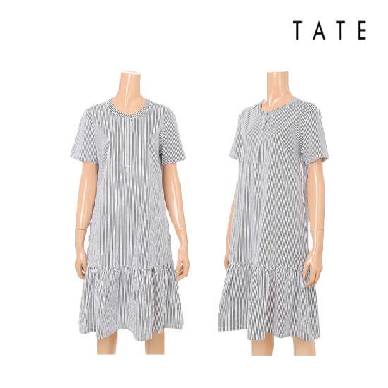 テート・】女性・ストライプポケットフリルのワンピースKA7U5WOP030 面ワンピース/ 韓国ファッション