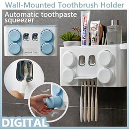 日式简约自动挤牙膏器套装吸壁式懒人牙刷架创意新款浴室牙刷架