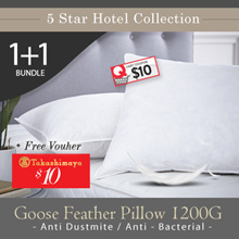 FREE $10 Takashimaya Voucher BUNDLE OF 2 5 Star Hotel Collection Goose Feather Pillow 1200 Grams
