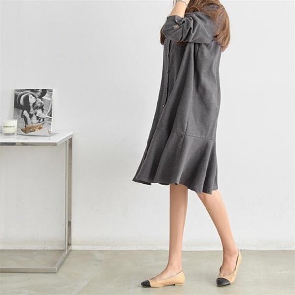 ピピングレン・ソフトの裾フリルのワンピース34878 new 無地ワンピース/ワンピース/韓国ファッション