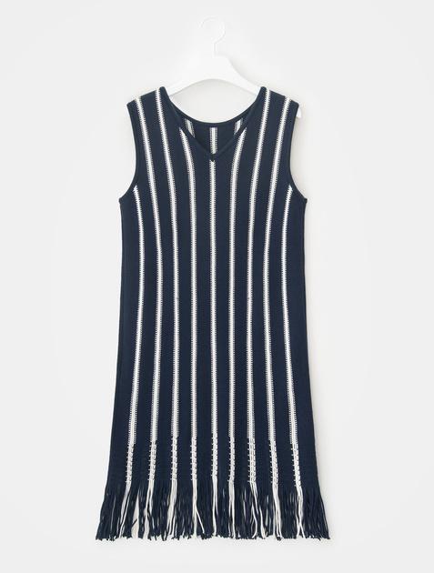 8SECONDS Stripe Solid Knit Dress - Navy