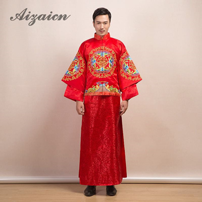 9573e667b1fe3 Red Traditional Chinese Clothing Men Cheongsam Groom Wedding Suit Hanfu  Tang Costume Mandarin Jacket