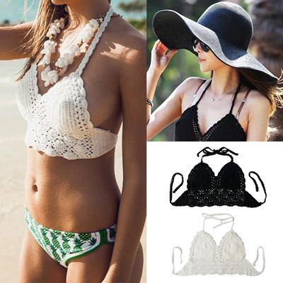 cd9ea26aada0d3 Sexy Women Crop Top Crochet Lace Bralette Knitted Bra Boho Beach Bikini  Halter Cami Tank Top