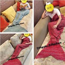 Adult Mermaid Blankets Mermaid Sleeping Swaddle 180*90cm Handmade Crochet Mermaid Tail Blankets Merm