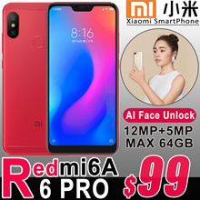Authentic Xiaomi Smart Mobile Phone Android Redmi 6 PRO Redmi 6A AI Face Unlock Fingerpint 4G LTE