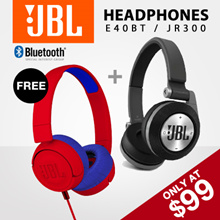 JBL E40BT Black + JR300 Red