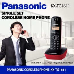 Panasonic Cordless Home Phone KX-TG1611 / With LCD Display / Caller ID with 50 names and number log