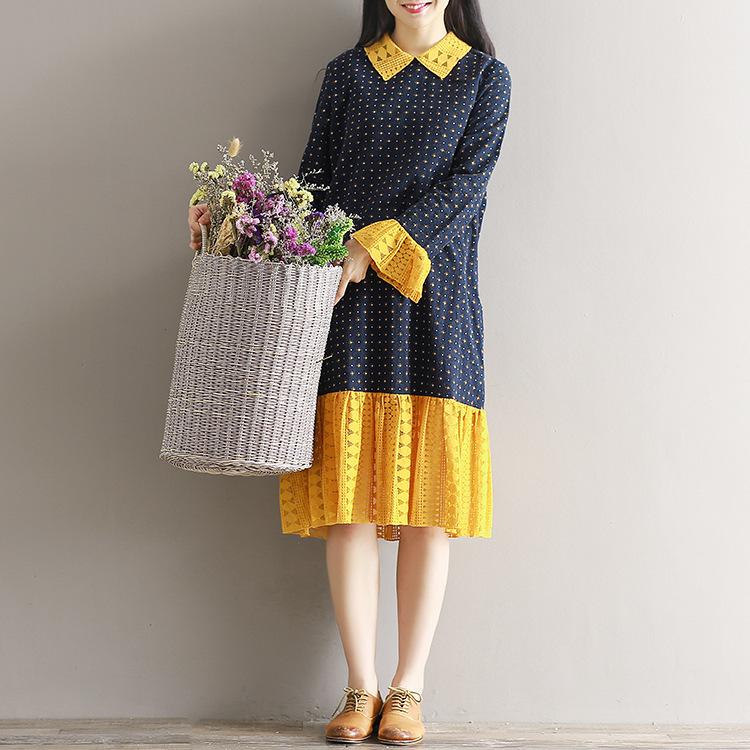 韓国ファッション  ワンピース   レディース  大きいサイズ   長袖/フレア袖    ワンピース  ゆったり感  プリーツスカート可愛い  着痩  大人気/   D7072864