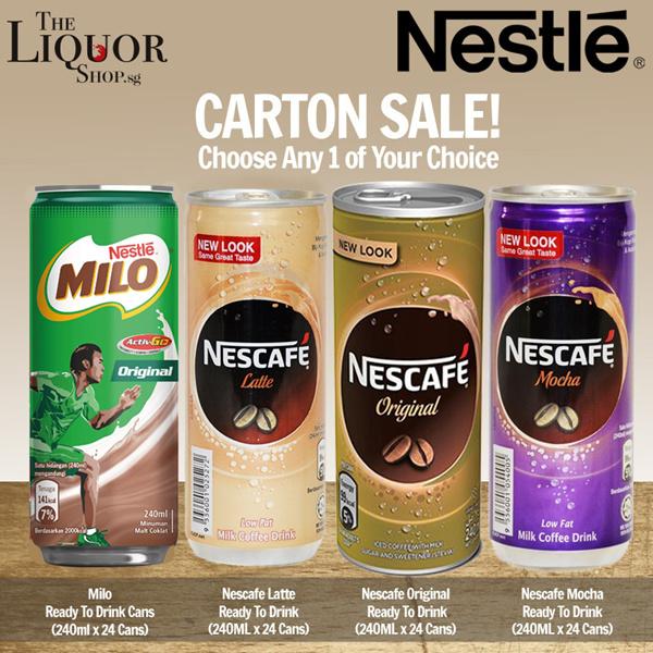 [ SINGTEL DASH ][NESTLE][MILO][Milo Cans/Nescafe Mocha/Nescafe Original /Nescafe Latte] 240MLx24 Deals for only S$32.9 instead of S$0
