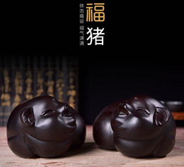Pure Ebony Wood Wealth Pig FengShui Decoration for Home/Gift