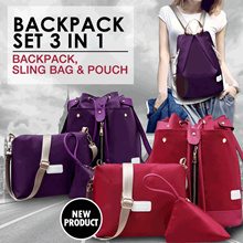 [FREE SHIPPING JABODETABEK] 2 MODEL BACKPACK SET 3 IN 1 BAHAN NYLON LOVELY PACKAGE MULTIFUNGSI TAHAN AIR - BEST SELLER