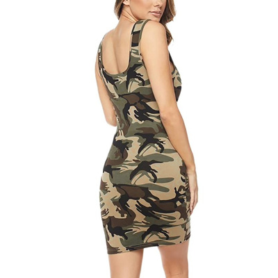 0fc91bccc533 online O-Neck Camouflage Sleeveless Mini Dress Women Printing Buttock  Bodycon Club Wear Dresses Back
