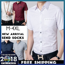 【2019 Happy New Year】 Mens Fashion Slim Casual shirts /short sleeve shirts/New Arrival