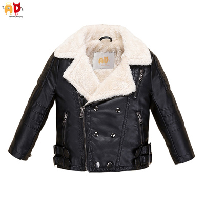 319a00600 Qoo10 - AD Fleece Faux Leather Jacket for Boys Girls Kids Winter ...