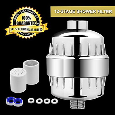Shower Filter 12-Stage Shower Head Water Filter with Replacement Cartridges-Fit Most Shower Head and