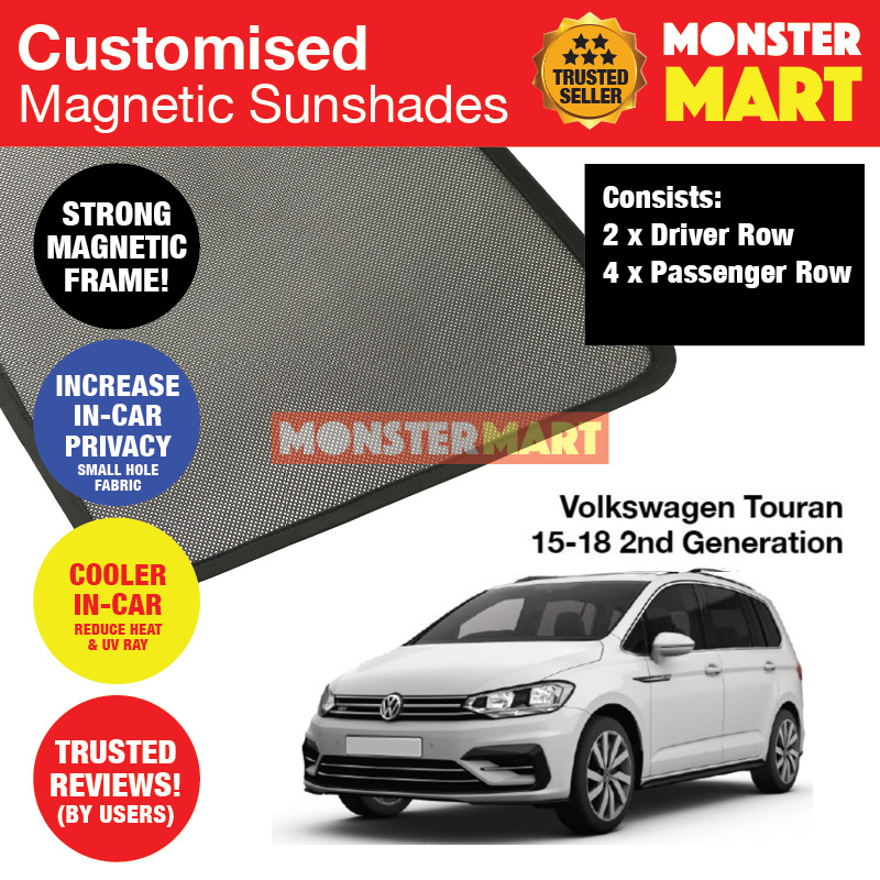 Volkswagen Touran 2015-2018 2nd Generation Customised Germany MPV Window  Magnetic Sunshades 6 Pieces