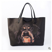 Leather shopping bag black Rottweiler Dog Head Shoulder Bag Tote Handbag Bag mother