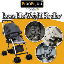 【BONBIJOU】Lucas Lite Weight Stroller (Charcoal Black / Dusky Grey / Khaki)