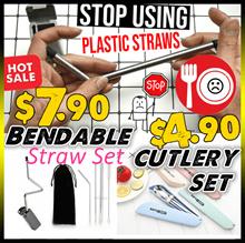 ♥SGFreshIdea♥2019♥Stainless Steel♥Foldable Straw Set♥Cutlery Chopsticks Spoon Fork Set♥Reusable♥