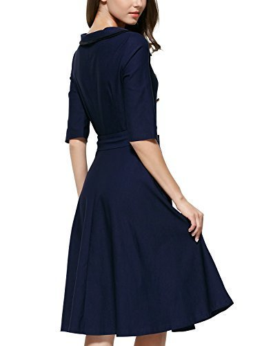 Miusol Women s 3/4 Sleeve Classy Casual Belted Vintage Retro Evening Swing Dress Navy Blue Large