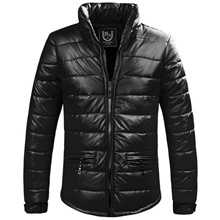 Mens winter jacket cotton PU leather padded down thick cotton padded jacket Casual
