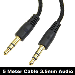 5m Audio Stereo 3.5mm Long Cable Male to Male AUX Headphone PC Speaker