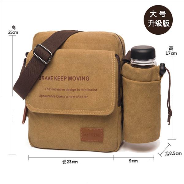 BAG043 vintage premium canvas unisex shoulder bag digital camera travel bag ipad bag with water bottle side bag large wholesale deal Deals for only S$69 instead of S$0