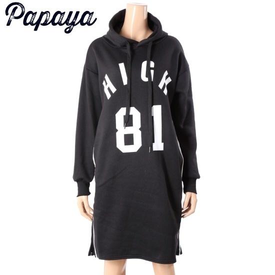 パパイヤ81フード起毛ワンピースCNHROP022D 面ワンピース/ 韓国ファッション