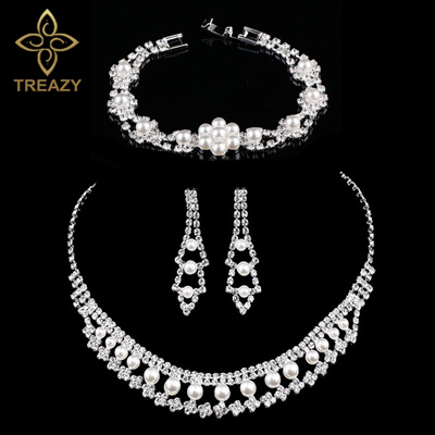 e7c2bd7467c56 Fashion Simulated Pearl Floral Bridal Jewelry Sets Choker Necklace Earrings  Bracelet Wedding