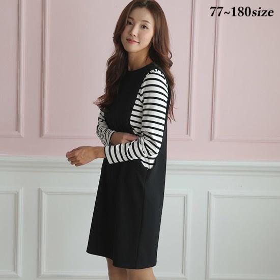 レディープラス4XL、5XLトゥーニーワンピース6692 面ワンピース/ 韓国ファッション