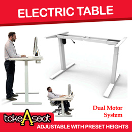 Dual Motor Electric Height Adjust Desk ★ Electric Sit Stand Desk ★ Ergonomic Desk ★ Preset Heights