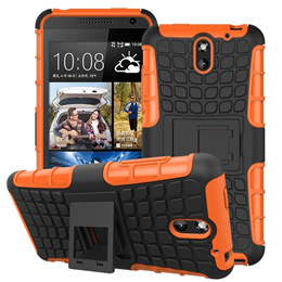 Orange Shockproof Stand Hard Case Cover For HTC Desire 610