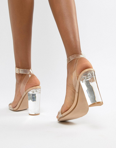 Qoo10 - Steve Madden Camille perspex clear heeled shoes   Shoes