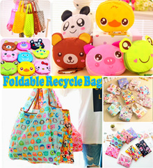 Cartoon Foldable Waterproof  Lightweight Recycle Bag ❤ Travel/ Shopping/ Gym/ School Adult/ Children