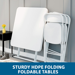 HDPE Sturdy Square Rectangle Round Portable Foldable Folding Table / Adjustable Heights