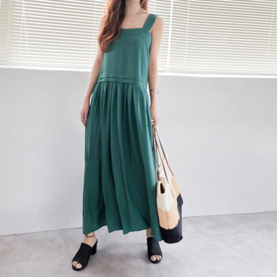 イニクスクエアピンタック・OPSワンピース 綿ワンピース/ 韓国ファッション
