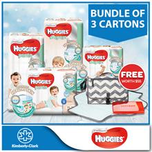 Bundle of 3 Cartons!! [HUGGIES] Platinum Diapers Tape / Pants - *FREE Skip Hop Baby Changing Station