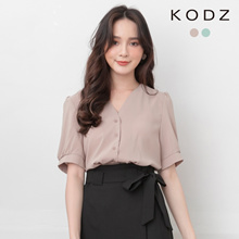 KODZ - V-Neck Breasted Pleated Top-190471