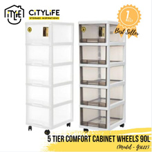 [Best seller ] Citylife 5 Tier  Comfort Cabinet w Wheels 90L