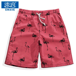 Men&#39 s quick dry shorts red flamingo loose five pants in summer beach big pants hot spring swim