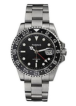 Parnis Ceramic Bezel Gmt-master Ii Black Dial Automatic Mechanical Ladies Mens Silver Steel Watch Pa-253